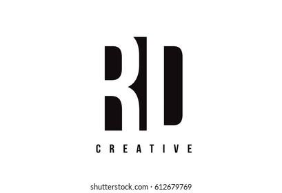 RD R D White Letter Logo Design with Black Square Vector Illustration Template.