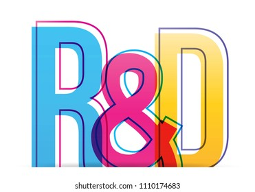 R&D : Research and development word lettering typography design illustration