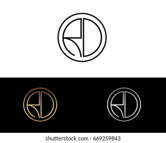 RD round circle shape initial letter logo