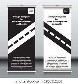 RDA banner template, black and white roll up banner, vector template for RDA.