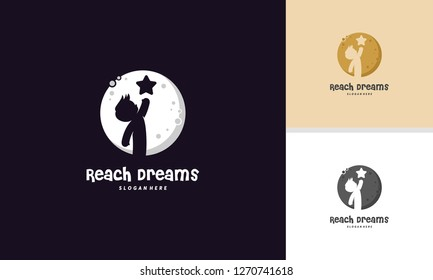 Reach Dreams logo with Moon symbol, Reaching Star logo, Online Learning logo designs vector, Kids Dream logo