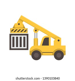 Reach stacker, cargo container vector icon. Lifting equipment for handling, move, transport, transfer, operation, delivery and loading cargo container to train or truck at yard, port, dock, terminal.