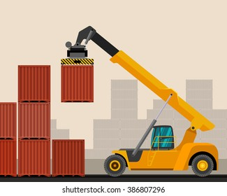 Reach stacker with container industrial crane with construction background. Side view crane vector illustration