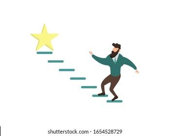 Reach for stars. A person who is trying to achieve his goals, targets, competition.