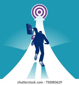 Reach the target. Businessman running to the target. Concept business vector illustration