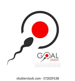 Reach your goal abstract icon, sperm bank logo idea illustration isolated on white background. Flat web design element for website, app or infographics materials.