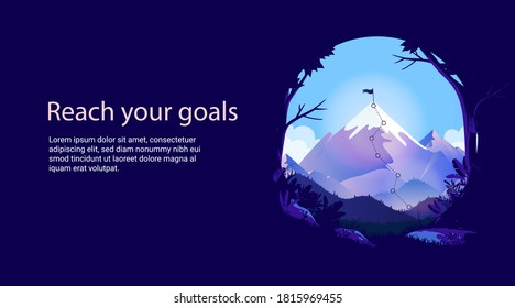 Reach your goals - Mountain top with flag and copy space for text. Presentation slide or web image for achievements and business goal. Vector illustration.