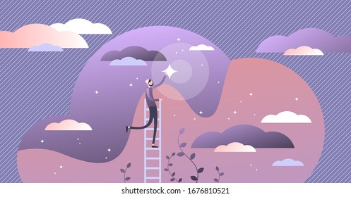 Reaching dreams vector illustration. Flat tiny ambition achievement persons concept. Creative abstract scene with human effort to tracing life goals. Ladder to sky as metaphoric visualization.