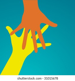 reaching hands