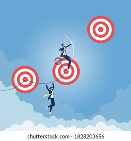 Reaching Higher Targets Concept, Excellent businessman taking aim on a high risk target