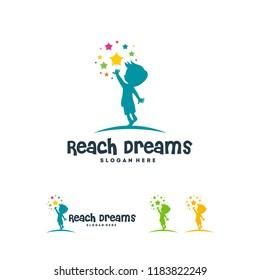 Reaching Star logo, Online Learning logo designs vector, Kids Dream logo, Reach Dreams logo