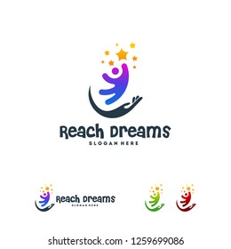 Reaching Star logo, , Online Learning logo designs vector, Kids Dream logo, Reach Dreams logo