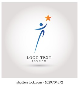 Reaching Star and Success Logo. Symbol and Icon Vector Template