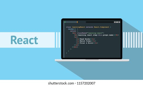 react native programming language with laptop and code script on screen vector illustration