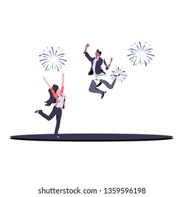reaction of two people when celebrating victory. vector illustration