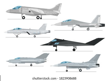 Reactive jet collection. Vector fighter aircraft and bomber, supersonic combat airplane and jet plane object isolated set. Military aviation different type illustration. Army air force collection