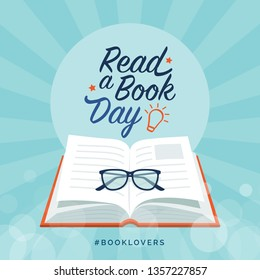 Read a book day social media post and card design with open book and glasses