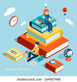 Read books concept. Education and school, study and literature. Vector illustration