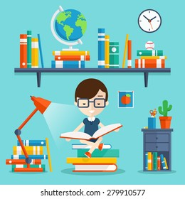 Read books concept. Education and school, study and literature. Vector flat illustration with young man sitting on stock of books and read his favorite book next to the bookshelf, lamp, bedside table