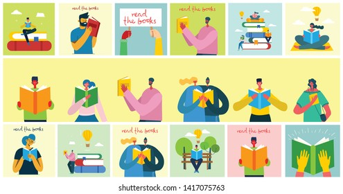 Read the books. Vector concept illustrations of World Book Day and Book festival in the flat style. People read the book.