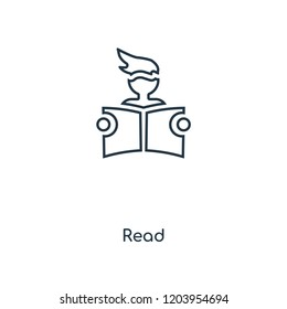 Read concept line icon. Linear Read concept outline symbol design. This simple element illustration can be used for web and mobile UI/UX.