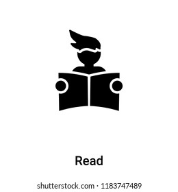 Read icon vector isolated on white background, logo concept of Read sign on transparent background, filled black symbol