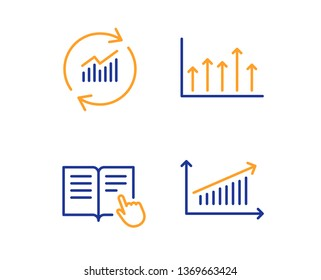 Read instruction, Update data and Growth chart icons simple set. Chart sign. Opened book, Sales statistics, Upper arrows. Science set. Linear read instruction icon. Colorful design set. Vector