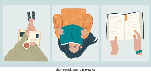 Read more book concept. Young woman reading a book, reads book while drinking coffee,Hand holding book. Hand drawn vector illustrations, flat designs. - Shutterstock ID 1888932403