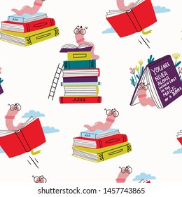 Read more books. Book worm in glasses and stacks of books. Pile of colorful books. Hand drawn educational vector seamless pattern. Flat design. Cartoon style