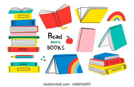 Read more books. Set for book lovers. Various books, stack of books, notebooks. Hand drawn educational vector illustration. Flat design. Cartoon style. Everything is isolated