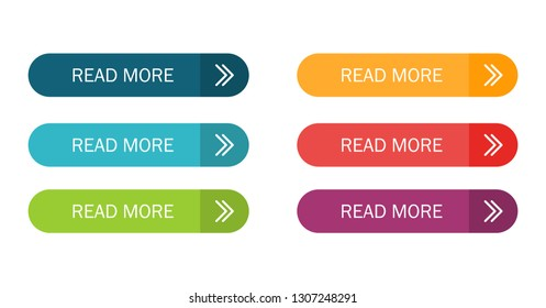 Read More colorful button set with icons Web Isolated on white background. Vector Illustration.