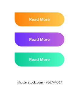 Read More colorful button set on white background. Flat gradient button collection. Vector web element