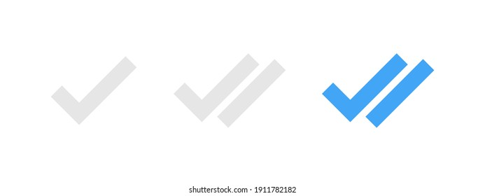 Readed message checkmark. Readed, sended seen, sended message icon set. Double checkmark icon set. Social media web element. Chat messenger concept. Social media design concept. Success concept.EPS 10