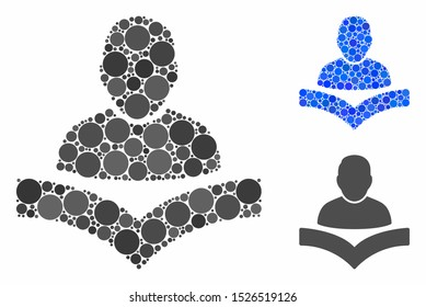Reader boy mosaic for reader boy icon of small circles in different sizes and color hues. Vector small circles are composed into blue mosaic. Dotted reader boy icon in usual and blue versions.