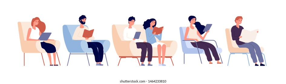 Readers characters. Persons reading books sitting on chair in bookstore. Students studying in university library vector concept. Illustration of reader sit in armchair and sofa, students studying