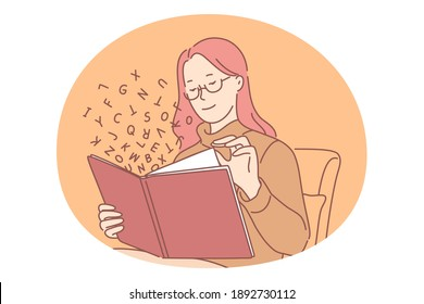 Reading book concept. Young smiling girl pupil student sitting and enjoying reading interesting book story alone with letters symbols flying around vector illustration. Education hobby library drawing