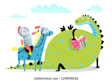 Reading Book Dragon and Knight on Horse Attack. Fairy tale funny dragon and knight fighting.