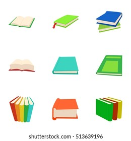 Reading book icons set. Cartoon illustration of 9 reading book vector icons for web