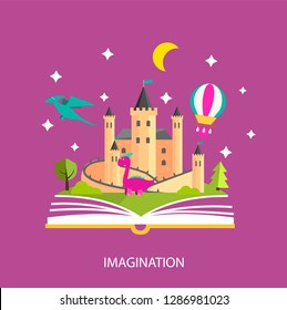 Reading book, imagination concept with stars, castle, dinosaurs, landscape, trees, flying hot air balloon etc. Vector illustration