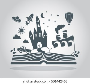 Reading book, imagination concept with stars, mountain landscape, trees, flying rocket, hot air balloon and other. Vector flat illustration.
