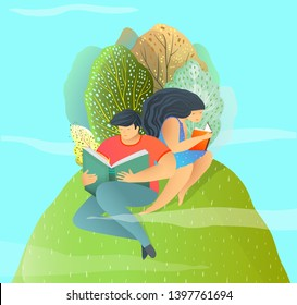 Reading a Book Man and Woman in Summer Forest on Hill. Flat style design vector illustration, couple in love reading books outside.