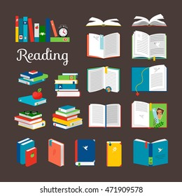 Reading book vector cartoon icons set. School and hand books, library books stack vector illustration