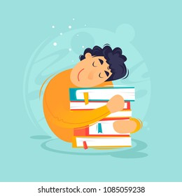 Reading books, a guy hugs a pile of books, education, self-development. Flat design vector illustration.