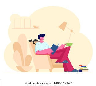 Reading Books Hobby. Young Man Sitting on Cozy Armchair at Home Read Interesting Book with Cat Sleeping beside. Deep Immersion to Fantasy World, Male Character Reader. Cartoon Flat Vector Illustration