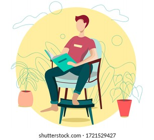 Reading Books Hobby. Young Man Sitting on Cozy Armchair at Home Read Interesting Book. Cartoon Flat Vector Illustration.