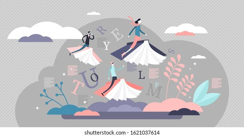 Reading books limitless fantasy journey concept, flat tiny persons vector illustration. Flying on book covers in abstract and creative literature world. Learning wisdom and exploring new horizons.