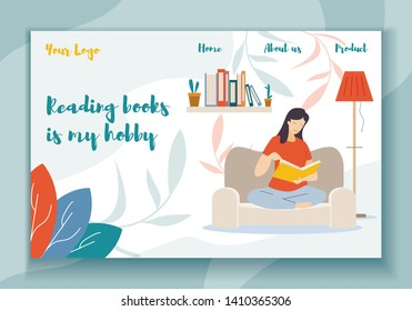 Reading Books is my Hobby Horizontal Banner. Young Woman Sitting on Cozy Sofa at Home Read Interesting Book. Deep Immersion to Fantasy World, Female Character Reader. Cartoon Flat Vector Illustration