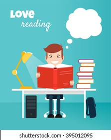 Reading boy. Read books concept. Education, school, study, literature. Flat style. Vector illustration