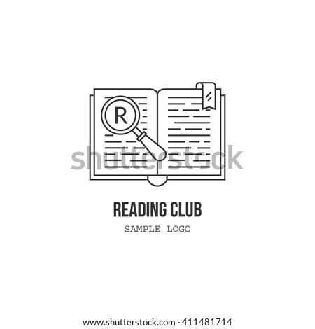 reading club vector isolated logotype template open book with magnifier large letter