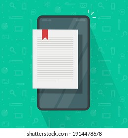 Reading ebook page or digital electronic notepad notebook on cell phone smartphone vector flat cartoon, concept of internet online book text page, textbook sheet on screen on mobile cellphone